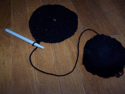 Start by crocheting a hat.  Photo by the author.
