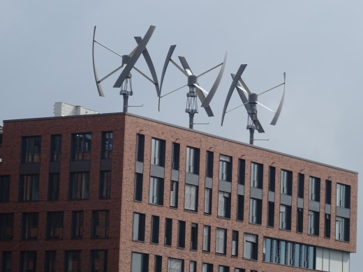 Wind power generators on top of the Greenpeace Offices
