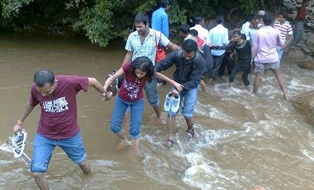 human chain to cross the river..
