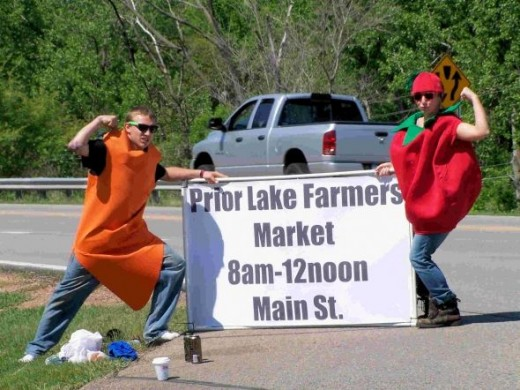 Human vegetables  at the Prior Lake Farmers' Market
