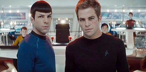 Kirk and Spock with the Younger Generation