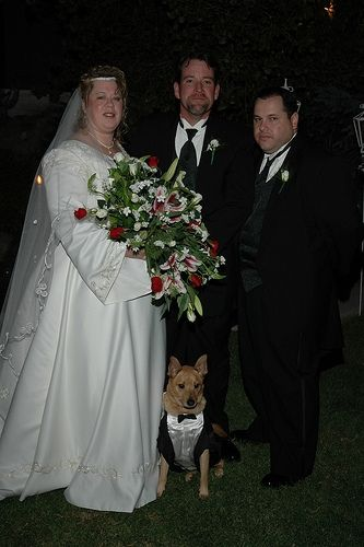 Bride, Groom, Best Man & Man's Best Friend