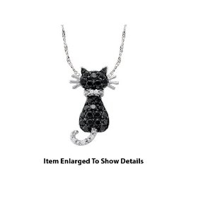 Cute Black and White 1/3 CTW Diamond Cat Pendant
