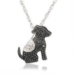 Sterling Silver Black and White Diamond Dog Pendant