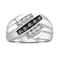 Men's 10kt. White Gold, 1/2 ct. tw. Black and White Diamond Fashion Ring