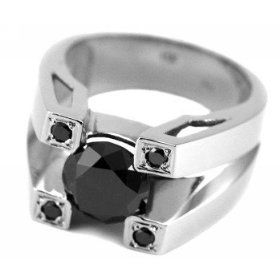 3.00ct Fancy-Black Diamond Men's Ring 14k White Gold