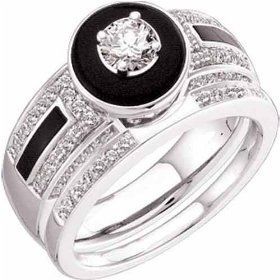 0.60 Ct.T.W. Round Cut Diamonds accented by Black Onyx in 14Kt. White Gold Wedding Ring Set