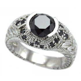 2.45ct Fancy Black Diamond Ring Antique Style 14k White Gold