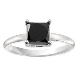 2.00ct tw Natural Treated Black Princess Cut Diamond Solitaire Ring in 14K White Gold (AAA quality , Dark Black color)