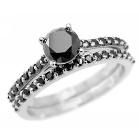 1.64ct Fancy Black Diamond Engagement/Wedding Ring Band Set 14k White Gold Set