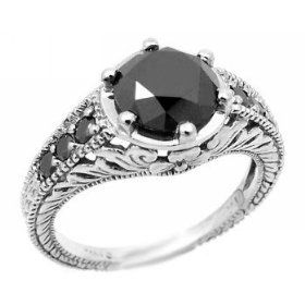 2.00ct Fancy-Black Diamond Ring Antique Style 14k White Gold