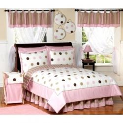 pink brown dots bedding