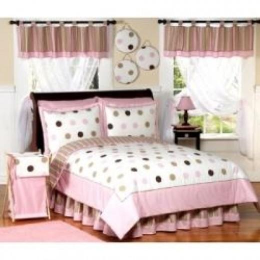 pink brown dots bedding