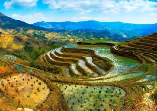 Visual for terraced mountains in Bian-Jing