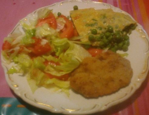 tortilla with milanesa and salad