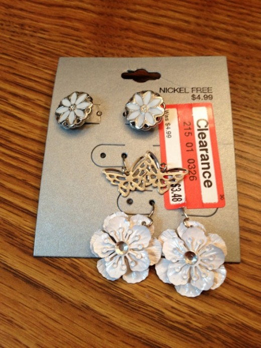 While these aren't technically beaded earrings, they've been transformed from boring to WOW with just one simple trick. I love these flower earrings I found on clearance at Target.