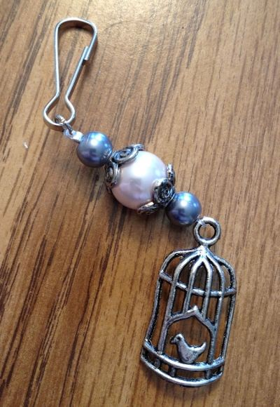 Pearl and Birdcage Zipper Pull