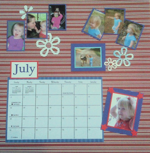 For JULY I used a set of action photos in one focal point, and a star spangled outfit for another.
