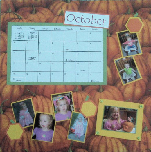 I used a Creative Memories hexagon punch to make pumpkin embellishments for OCTOBER.