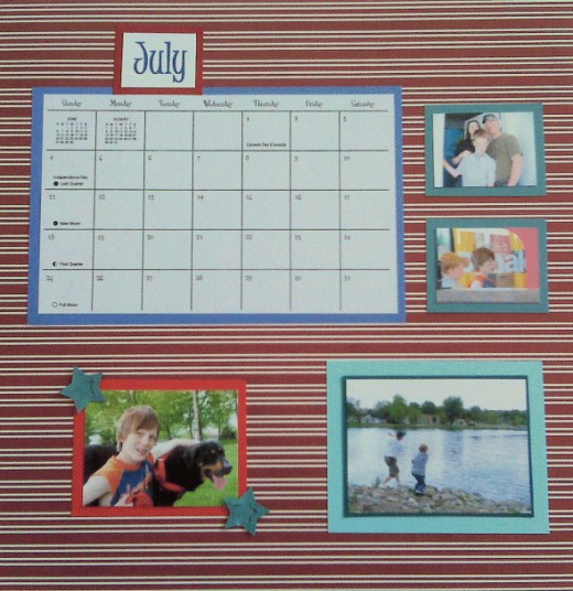 I didn't have a lot of photos for JULY so I used larger images with wider mats.