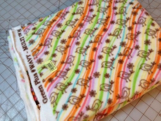 For my first blankets I picked up a half-price remnant. Even though it's a remnant, it's plenty big enough for two baby blankets. Yay!