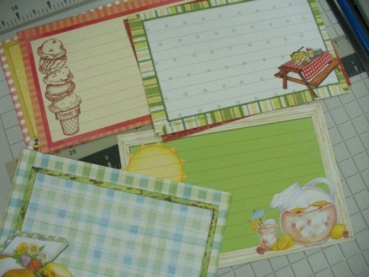 """I found these recipe cards at a local scrapbook and craft store.  They come 6 to a 12x12"""" sheet, and cut down to a perfect 4x6"""" fit."""