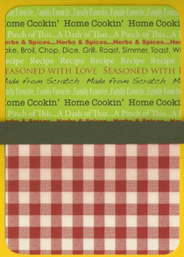 An inside cover of Ben and Erica's recipe book.