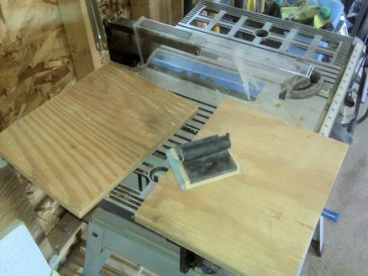 """I used a table saw to cut the board exactly in half, so the two rectangles fit on top of each other.  It doesn't matter if they're cut perfectly or banged up a bit.  As long as they're solid wood (no OSB or particle board) and at least 3/4"""" thick."""