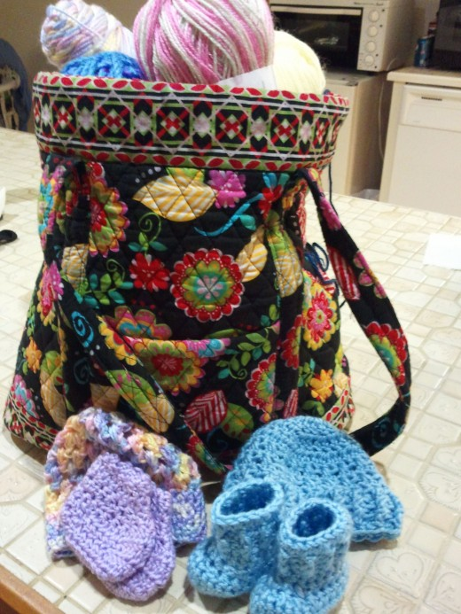 The Mary Donation Bag with just a few of her yarn contributions