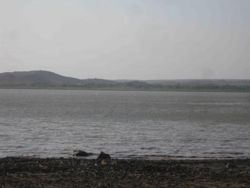The sacred river Shatrunjaya at Palitana.