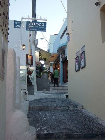 Walking the streets of Fira in Santorini