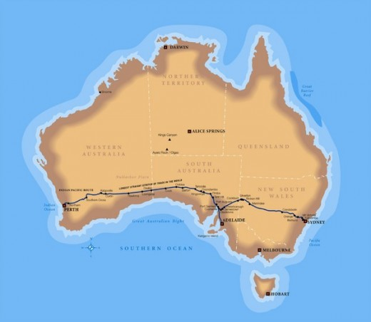 Indian Pacific Railroad Map