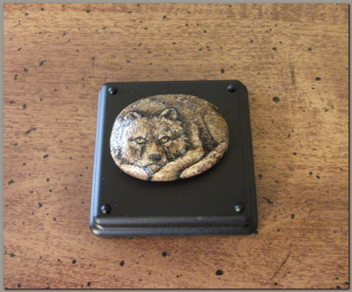 Curled Up Grizzly Bear Pebble #sk034, http://www.artfire.com/ext/shop/studio/ArtistTree