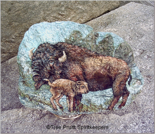 American Bison Scene - painted on natural holed fossil stone #sk021, Shop Spiritkeepers
