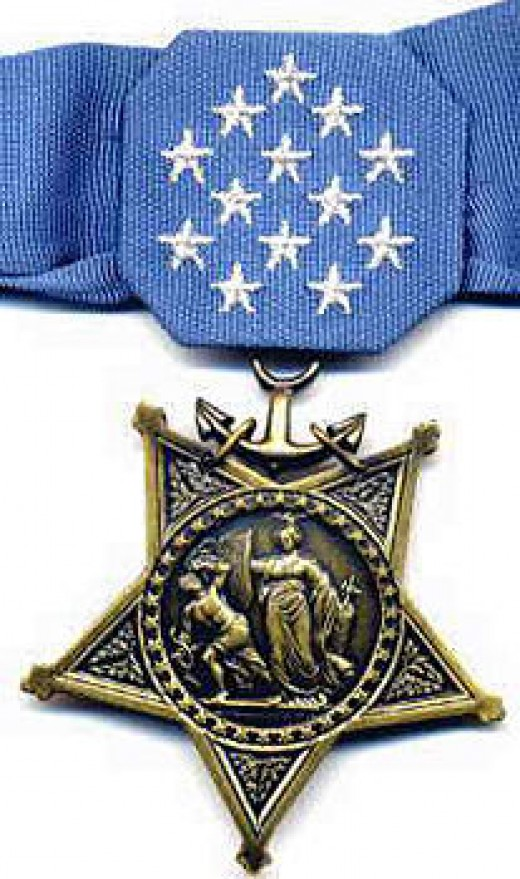 Medal of Honor   (For the Navy, Marine Corp, and the Coast Guard)The Medal of Honor has other designs for the other Branches of the Military.