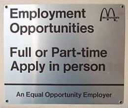 Author's ersonal photo from a wall in an Ohio McDonalds(R) before a remodel. Always hiring?