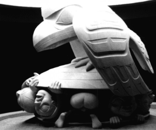 This carving of Raven was carved by Bill Reid. It portrays the story of how Raven coaxed the first men out of a giant clam shell
