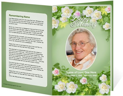 Funeral programs template for a floral theme from the funeral program