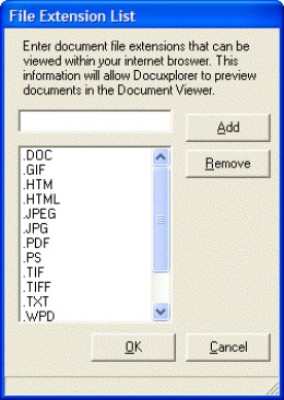 A Windows file extension list.