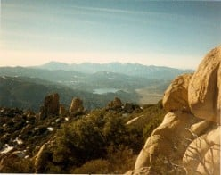 Looking down from the top of The Pinnacles.  Below is Lake Silverwood and The Cajon Pass in the distance.