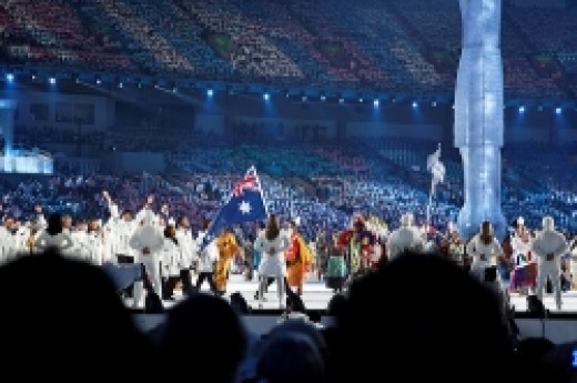 Torah Bright Carries the Australian Flag - 2010 Winter Olympics Opening Ceremony