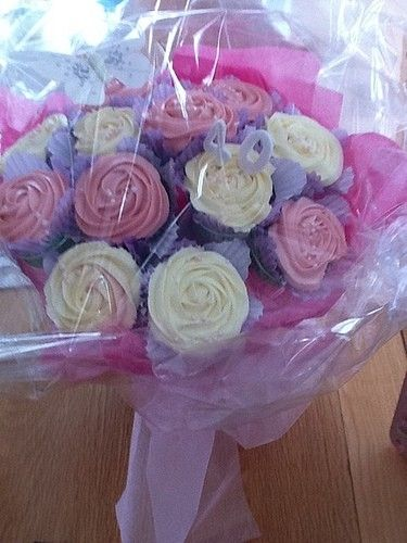 This lovely Cupcake Bouquet is wrapped and ready for delivery!