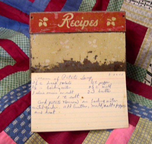 Grandma Irene's Original Potato Soup Recipe Dated 1955 and her Recipe Box