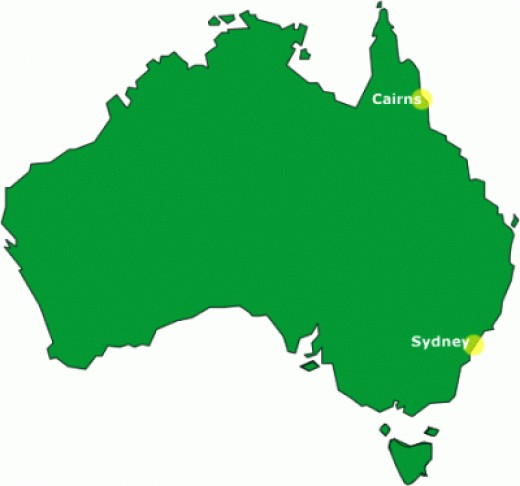 Where is Cairns? Map of Oz, showing Cairns location