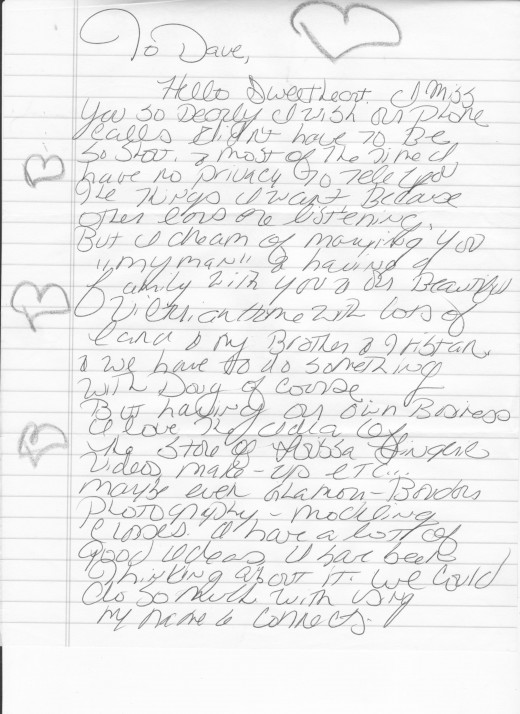 First letter, in a set of three sent from Lorissa McComas to David Keeter. These were sent in 2007