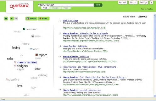 Sample of Quintara Search Results. Note the tag cloud at left.