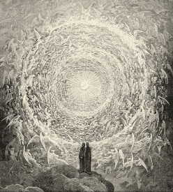 Dante and Beatrice gaze upon the highest Heaven (The Empyrean); from Gustave Doré's illustrations to the Divine Comedy, Paradiso Canto 31.