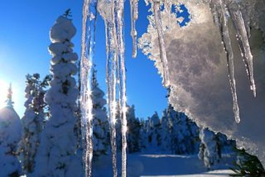 Icicles in the sunshine in Ruka, Finland