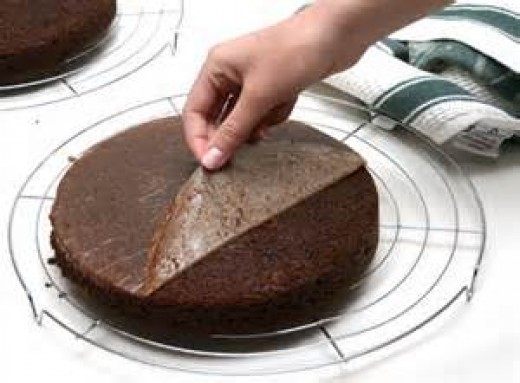 Line pan with wax paper and peel off after removing cake from pan