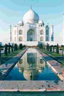 The pool below shows a perfect reflection of the Taj
